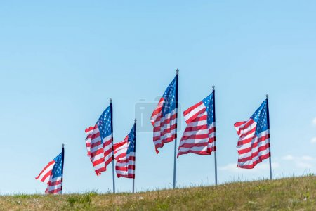 national american flags on green grass against blue sky with clouds