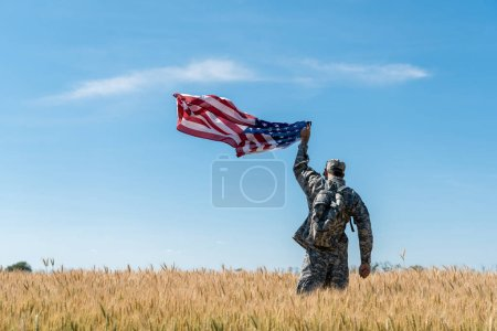 Photo for Back view of soldier in military uniform standing in field with golden wheat and holding american flag - Royalty Free Image
