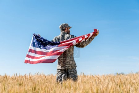 Photo for Soldier in cap and uniform holding american flag in golden field with wheat - Royalty Free Image
