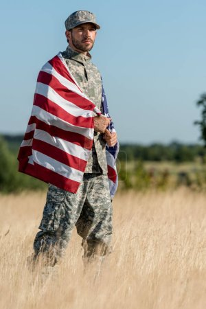 Photo for Man in camouflage uniform and cap holding american flag in golden field - Royalty Free Image