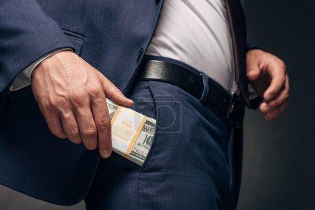 Photo pour Vue recadrée de l'homme d'affaires restant et mettant l'argent dans la poche sur le gris - image libre de droit