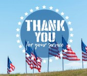 """Постер, картина, фотообои """"national american flags on green grass against blue sky with thank you for your service illustration"""""""