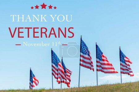 banderas nacionales americanas sobre hierba verde contra cielo azul con ilustración de los veteranos de gracias