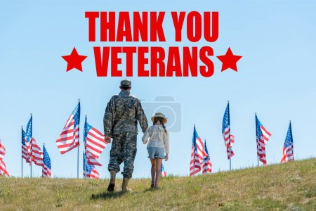 Photo for Back view of father in military uniform holding hands with daughter near american flags with thank you veterans illustration - Royalty Free Image