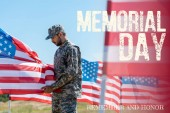 "Постер, картина, фотообои ""selective focus of man in military uniform and cap standing and touching american flag with memorial day, remember and honor illustration"""