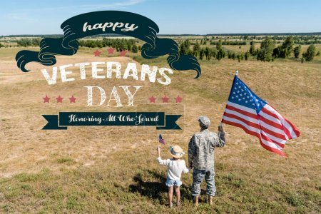 Photo for Military man and patriotic kid holding american flags with happy veterans day, honoring all who served illustration - Royalty Free Image