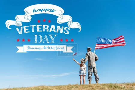 Photo for Back view of kid in straw hat and military father holding american flags with happy veterans day, honoring all who served illustration - Royalty Free Image
