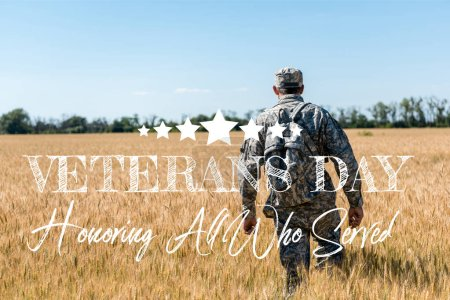 Photo for Soldier in military uniform with backpack walking in field with golden wheat with veterans day, honoring all who served illustration - Royalty Free Image