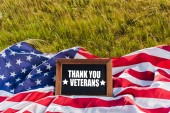 "Постер, картина, фотообои ""blank chalkboard with thank you veterans illustration on american flag with stars and stripes on green grass"""