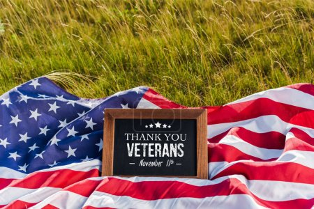 Photo pour Blank chalkboard  with thank you veterans illustration on american flag with stars and stripes on green grass - image libre de droit