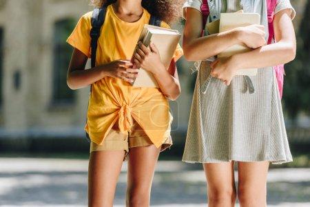 Photo pour Vue recadrée de deux écolières multiculturelles retenant des livres tout en marchant ensemble - image libre de droit