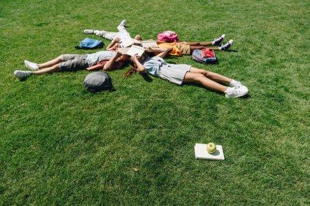 Foto de Cuatro escolares multiculturales acostados en el césped y cubriendo caras con libros - Imagen libre de derechos