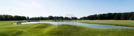 Photo pour Vue panoramique de l'étang dans le parc vert contre le ciel bleu - image libre de droit