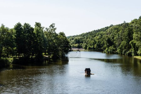 Photo pour Park with lake and green trees in summertime - image libre de droit