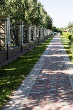 Photo pour Passerelle avec des pavés près de l'herbe verte et de la clôture - image libre de droit