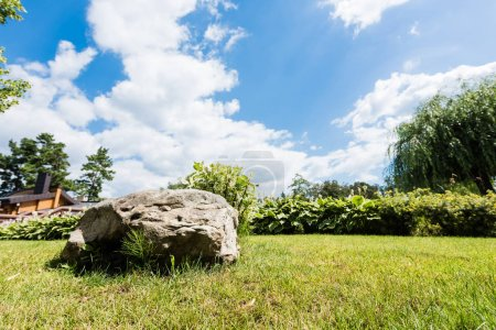 selective focus of rock on green grass against blue sky with clouds