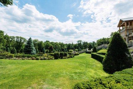 Photo pour Maison de luxe près des arbres verts sur l'herbe fraîche dans le stationnement - image libre de droit