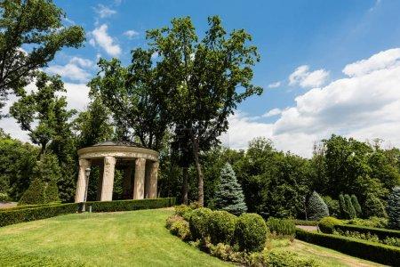Photo pour Buissons et arbres verts près de la construction contre le ciel bleu - image libre de droit