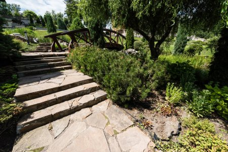 Photo for Green bushes and stones near stairs and wooden bridge in park - Royalty Free Image