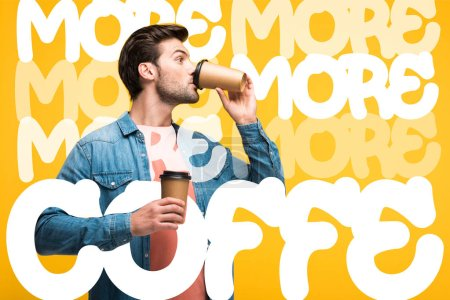 Photo pour Handsome man drinking coffee to go isolated on yellow with more coffee illustration - image libre de droit