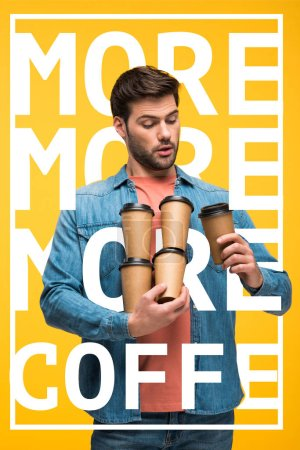 Photo pour Handsome man holding paper cups with coffee to go isolated on yellow with more coffee illustration - image libre de droit