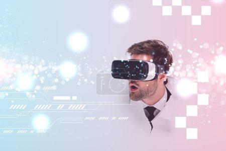 shocked man in Virtual reality headset behind hole in wall with glowing cyberspace illustration