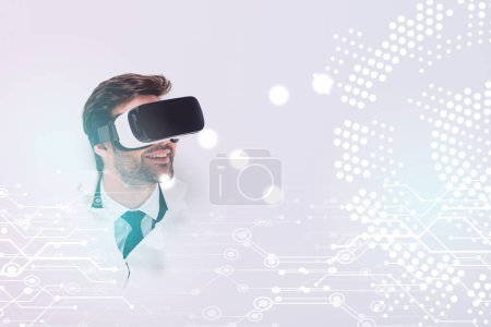 smiling adult man in Virtual reality headset in hole in wall with glowing cyberspace illustration