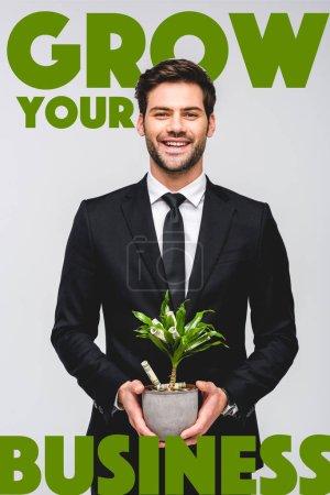 Photo pour Souriant bel homme d'affaires en costume tenant pot de fleurs avec arbre d'argent isolé sur gris avec croître votre illustration d'entreprise - image libre de droit
