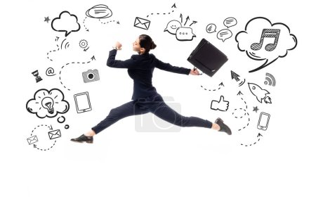 side view of young businesswoman jumping with briefcase near illustration with multimedia icons and pictograms isolated on white