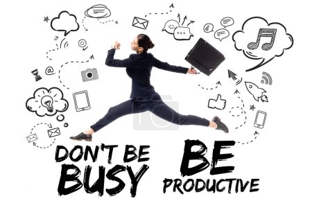 young businesswoman with briefcase levitating on background with dont be busy be productive lettering, and multimedia icons and symbols isolated on white