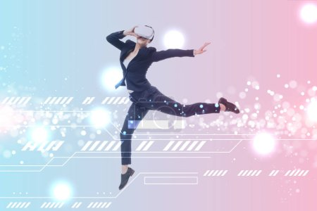 Photo for Businesswoman in virtual reality headset levitating on blue and pink gradient background with cyberspace illustration - Royalty Free Image
