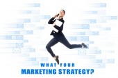 """Постер, картина, фотообои """"smiling businesswoman talking on smartphone and holding laptop while levitating on background with e-mail icons and what your marketing strategy question inscription isolated on white"""""""