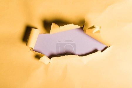 Foto de Papel naranja destrozado con borde enrollado sobre púrpura - Imagen libre de derechos