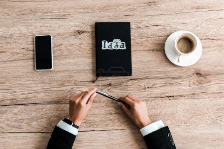 Photo pour Vue recadrée de stylo de fixation de femme près du papier avec le lettrage d'idée sur le cahier et la tasse noirs de café - image libre de droit