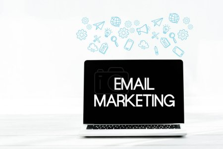 Photo for Laptop with email marketing on screen on white - Royalty Free Image