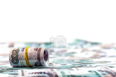 Photo for Selective focus of cash roll on russian money isolated on white - Royalty Free Image