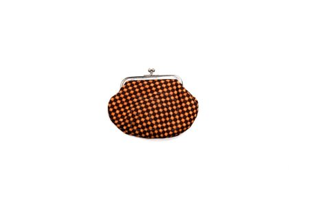 Photo for Top view of vintage plaid wallet isolated on white - Royalty Free Image