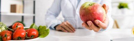 Photo pour Photo panoramique de nutritionniste tenant la pomme savoureuse près des légumes - image libre de droit