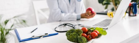 Photo for Panoramic shot of vegetables near nutritionist in clinic - Royalty Free Image