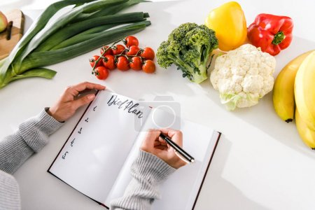 Photo for Cropped view of woman writing in notebook with diet plan - Royalty Free Image