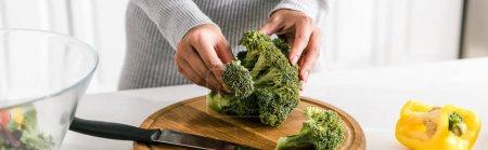 Photo pour Plan panoramique d'une femme tenant du brocoli vert près d'un bol et du paprika - image libre de droit