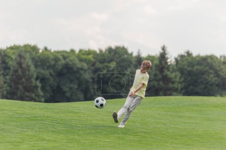 Photo for Cute boy playing football on green grass in park - Royalty Free Image