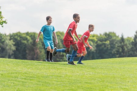 Photo for Happy multicultural boys running on grass - Royalty Free Image