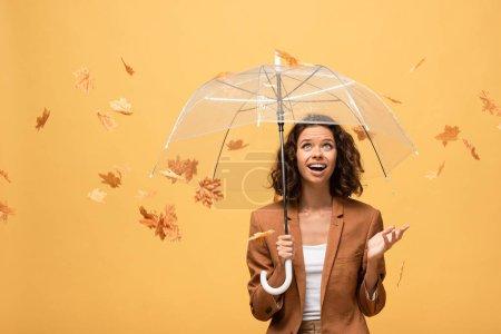 Foto de Mujer rizada feliz en chaqueta marrón sosteniendo paraguas en hojas de arce dorado que caen aisladas en amarillo - Imagen libre de derechos