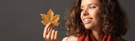 Photo for Panoramic shot of smiling woman in trench coat holding golden maple leaf on black background - Royalty Free Image