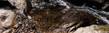 Photo pour Coup panoramique de soleil sur la rivière qui coule près de pierres humides dans le parc - image libre de droit