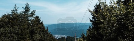 Photo for Panoramic shot of trees near mountains against blue sky with clouds - Royalty Free Image