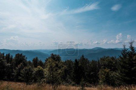 Photo pour Arbres verts et montagnes contre le ciel avec des nuages - image libre de droit