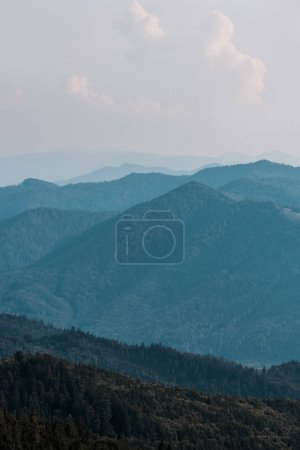 Photo for Mountains with green trees against sky with clouds - Royalty Free Image
