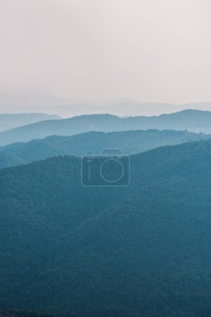 Photo for Scenic and blue silhouette of mountains outside - Royalty Free Image